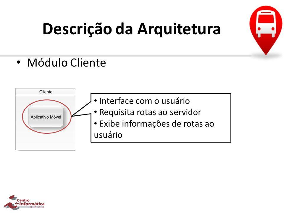 Descrição da Arquitetura Módulo Servidor Recupera todas as rotas possíveis para a origem e destino Atribui pontuações para as rotas de acordo com: Tempo Preço Distância
