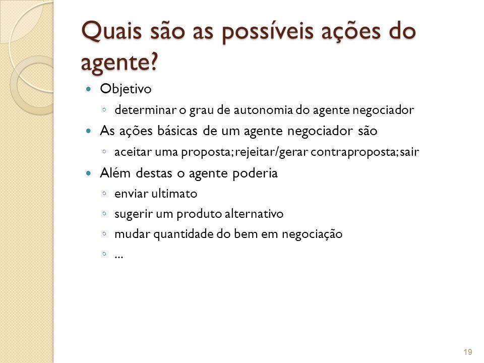 Quais são as possíveis ações do agente? Objetivo determinar o grau de autonomia do agente negociador As ações básicas de um agente negociador são acei
