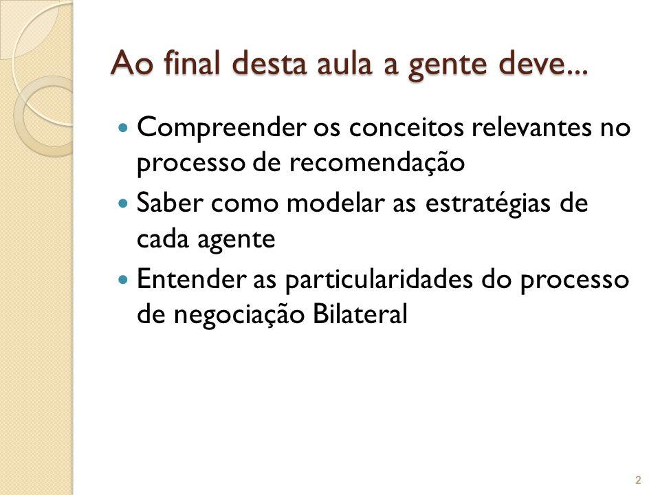Ao final desta aula a gente deve... Compreender os conceitos relevantes no processo de recomendação Saber como modelar as estratégias de cada agente E