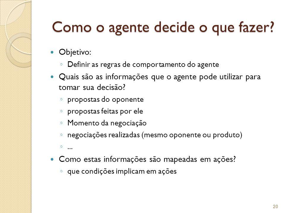 Como o agente decide o que fazer? Como o agente decide o que fazer? Objetivo: Definir as regras de comportamento do agente Quais são as informações qu