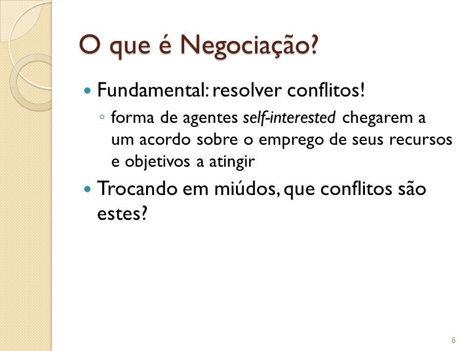 Fundamental: resolver conflitos! forma de agentes self-interested chegarem a um acordo sobre o emprego de seus recursos e objetivos a atingir Trocando