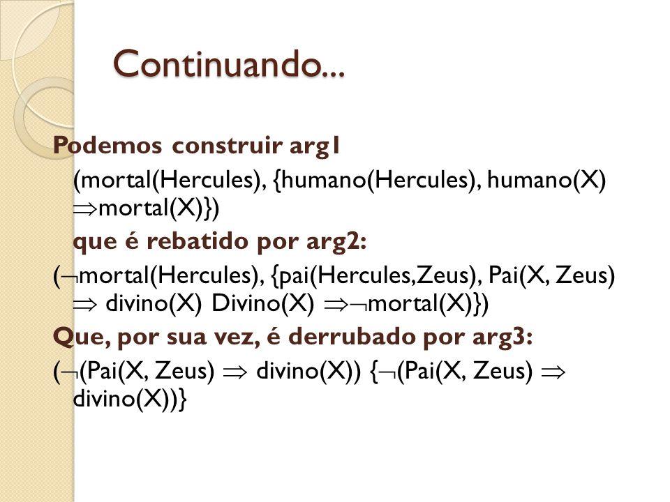 Continuando... Podemos construir arg1 (mortal(Hercules), {humano(Hercules), humano(X) mortal(X)}) que é rebatido por arg2: ( mortal(Hercules), {pai(He