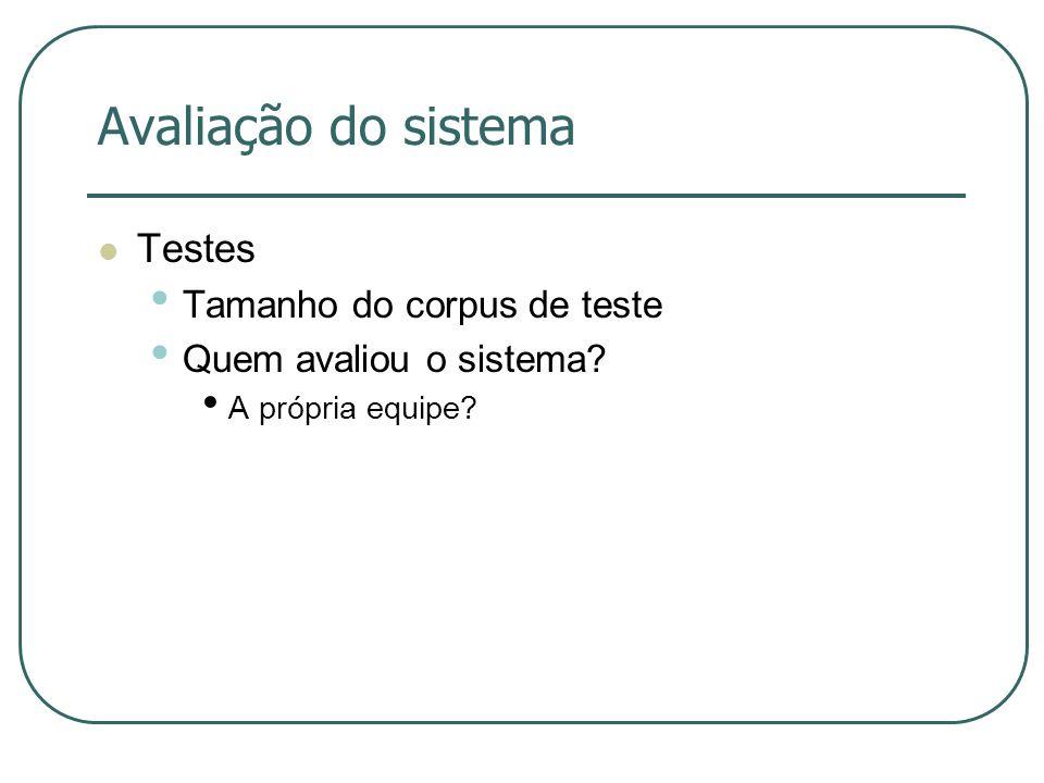 Avaliação do sistema Testes Tamanho do corpus de teste Quem avaliou o sistema? A própria equipe?