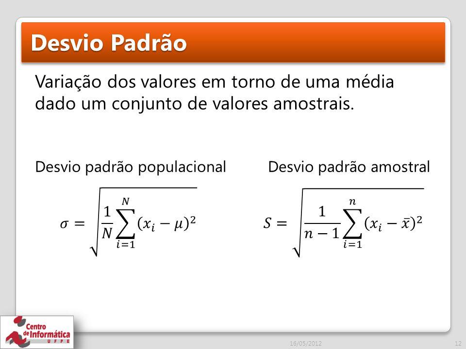 Desvio Padrão Variação dos valores em torno de uma média dado um conjunto de valores amostrais.