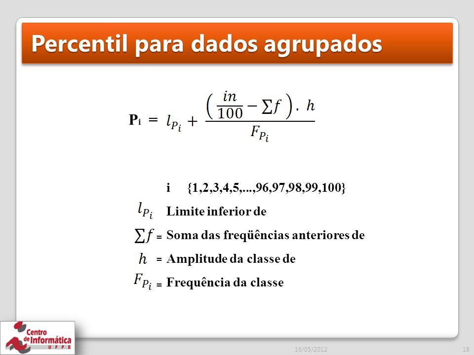 Percentil para dados agrupados 16/05/201218 P i = i {1,2,3,4,5,...,96,97,98,99,100} Limite inferior de Soma das freqüências anteriores de Amplitude da classe de Frequência da classe = = =