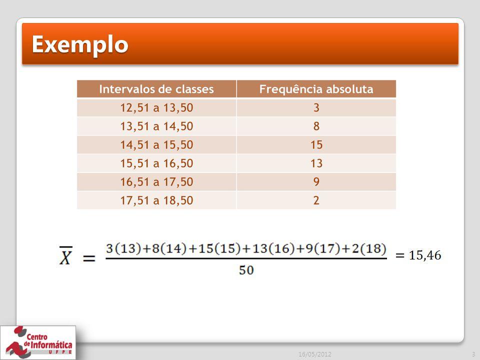 Continuação...16/05/201224 Obs: O limite inferior da classe é o próprio valor.