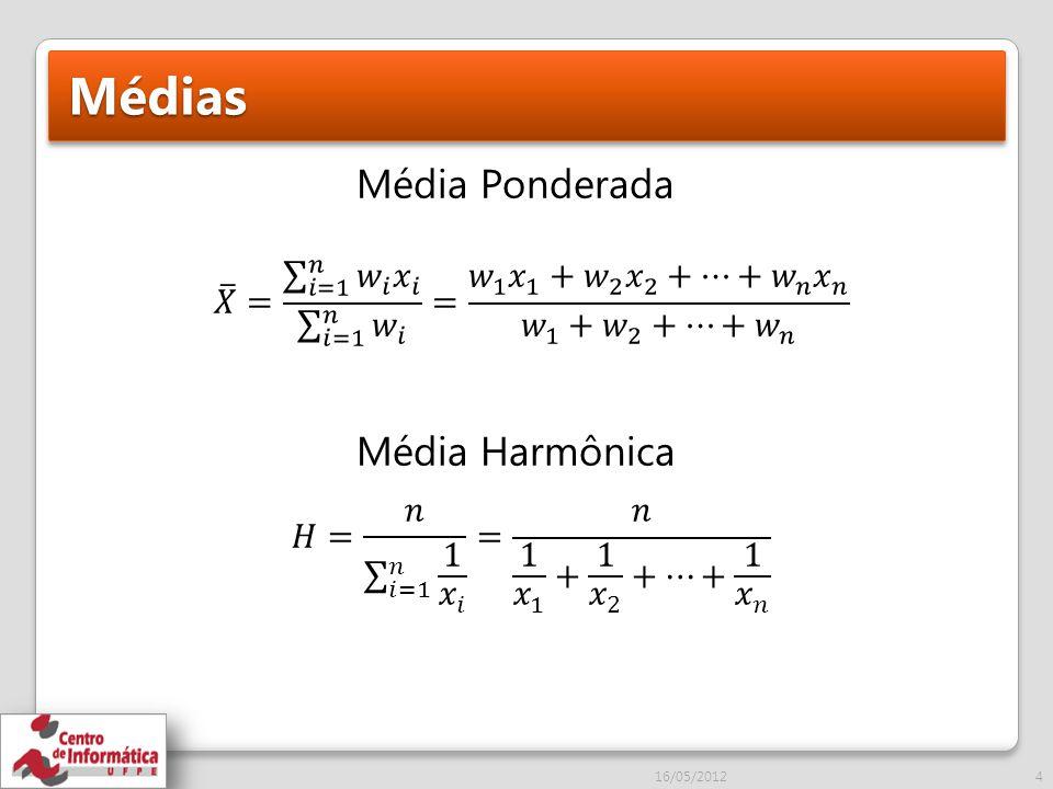 Médias Média Ponderada Média Harmônica 16/05/20124