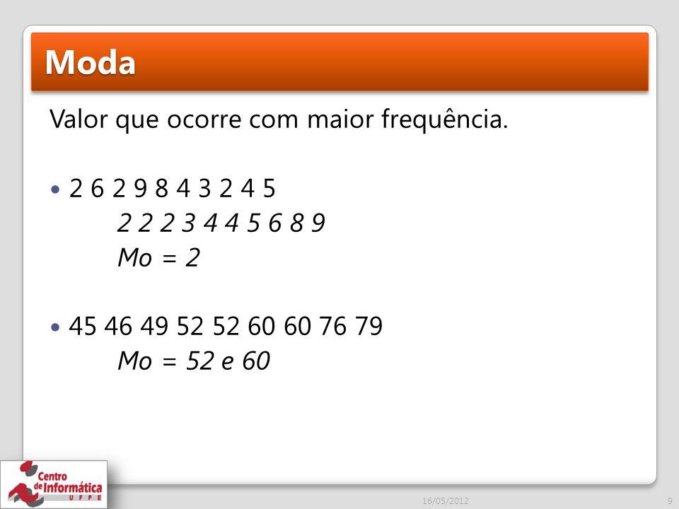 Exercícios 1) Para a distribuição abaixo responda: a)Qual a amplitude total.