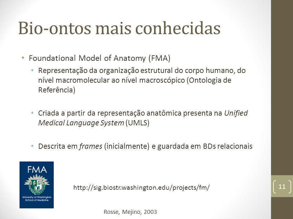 Bio-ontos mais conhecidas Foundational Model of Anatomy (FMA) Representação da organização estrutural do corpo humano, do nível macromolecular ao nível macroscópico (Ontologia de Referência) Criada a partir da representação anatômica presenta na Unified Medical Language System (UMLS) Descrita em frames (inicialmente) e guardada em BDs relacionais 11 http://sig.biostr.washington.edu/projects/fm/ Rosse, Mejino, 2003