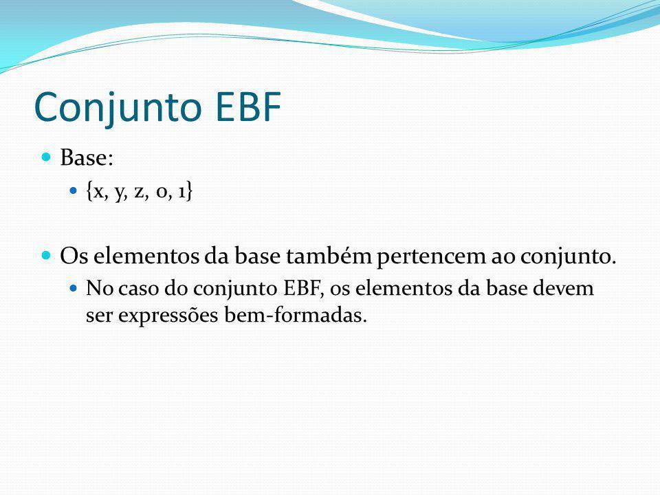 Conjunto EBF Base: {x, y, z, 0, 1} Os elementos da base também pertencem ao conjunto. No caso do conjunto EBF, os elementos da base devem ser expressõ