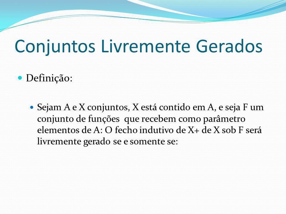 Conjuntos Livremente Gerados Definição: Sejam A e X conjuntos, X está contido em A, e seja F um conjunto de funções que recebem como parâmetro elementos de A: O fecho indutivo de X+ de X sob F será livremente gerado se e somente se: