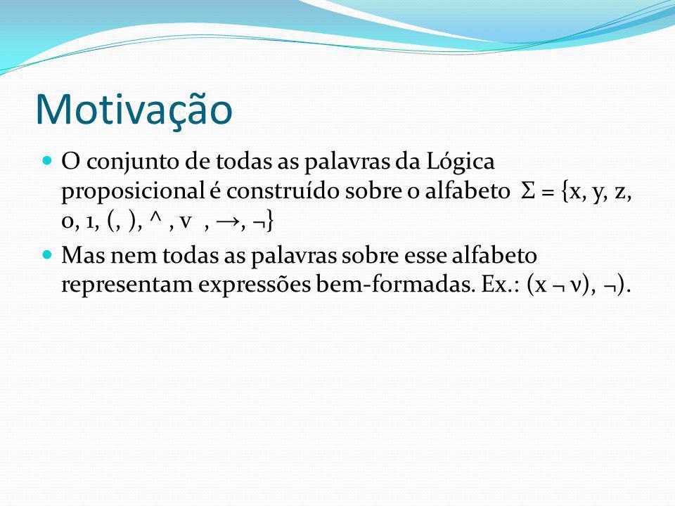 Motivação O conjunto de todas as palavras da Lógica proposicional é construído sobre o alfabeto Σ = {x, y, z, 0, 1, (, ), ^, v,, ¬} Mas nem todas as palavras sobre esse alfabeto representam expressões bem-formadas.