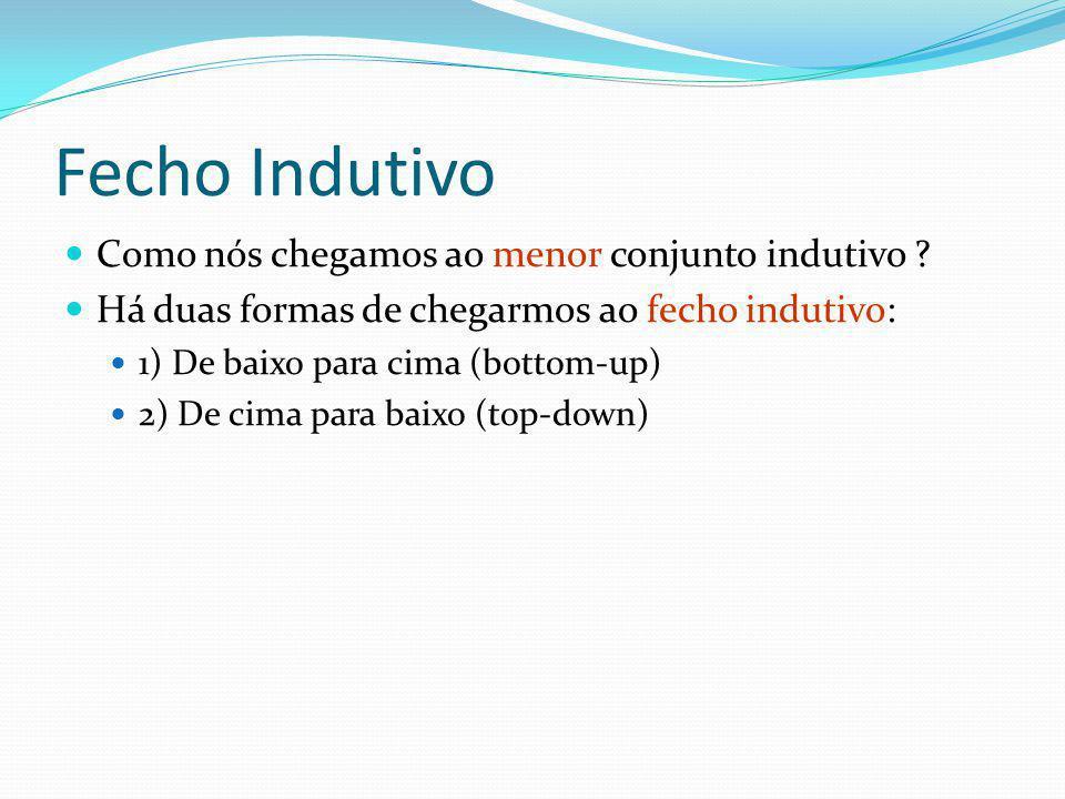 Fecho Indutivo Como nós chegamos ao menor conjunto indutivo ? Há duas formas de chegarmos ao fecho indutivo: 1) De baixo para cima (bottom-up) 2) De c