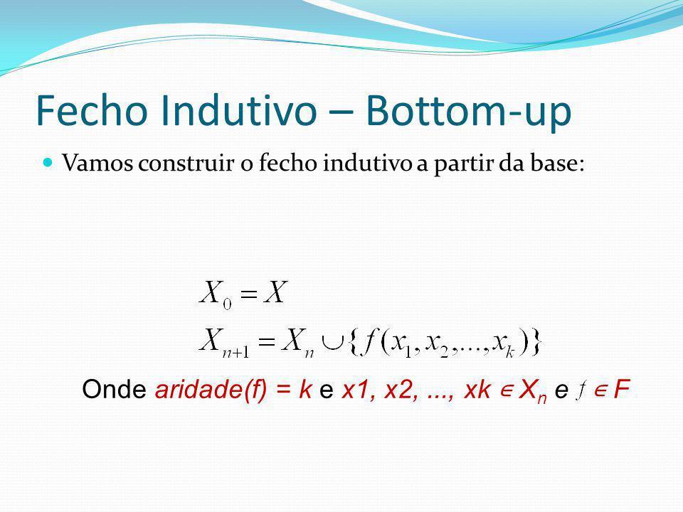 Fecho Indutivo – Bottom-up Vamos construir o fecho indutivo a partir da base: Onde aridade(f) = k e x1, x2,..., xk X n e F