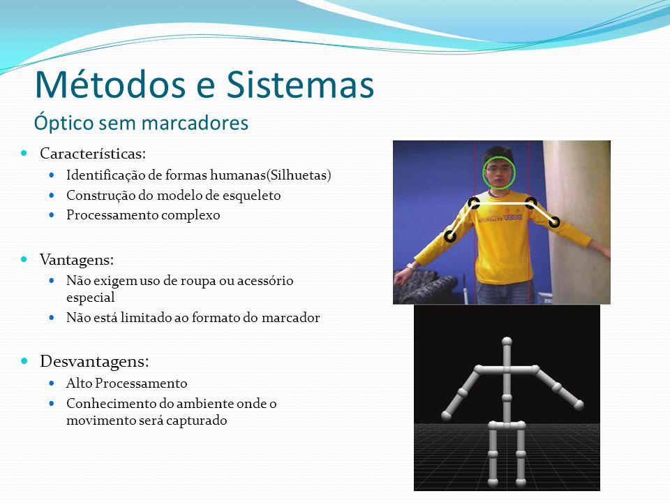 Métodos e Sistemas Óptico sem marcadores Características: Identificação de formas humanas(Silhuetas) Construção do modelo de esqueleto Processamento c