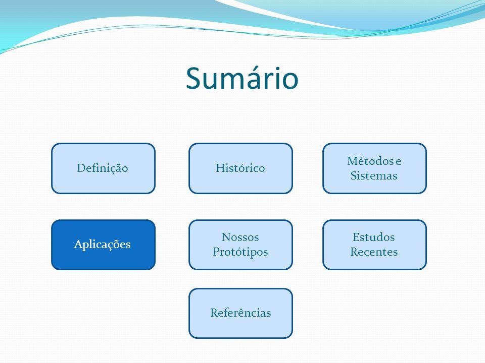 Sumário Definição Aplicações Métodos e Sistemas Histórico Estudos Recentes Referências Nossos Protótipos