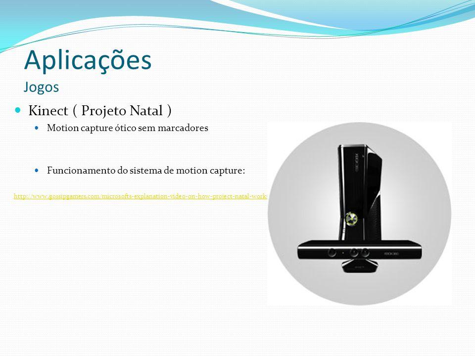 Aplicações Jogos Kinect ( Projeto Natal ) Motion capture ótico sem marcadores Funcionamento do sistema de motion capture: http://www.gossipgamers.com/