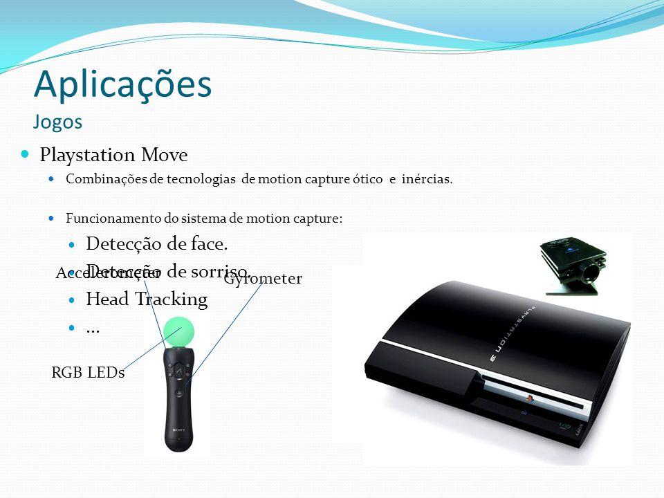 Aplicações Jogos Playstation Move Combinações de tecnologias de motion capture ótico e inércias. Funcionamento do sistema de motion capture: Detecção