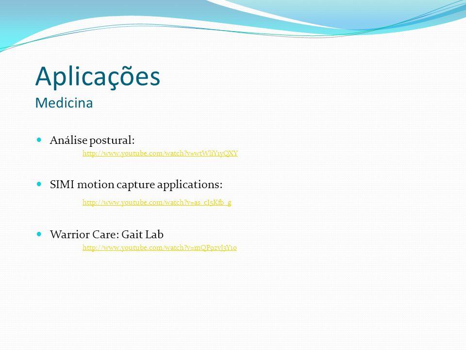 Aplicações Medicina Análise postural: http://www.youtube.com/watch?v=wtWliY1yQXY SIMI motion capture applications: http://www.youtube.com/watch?v=as_c