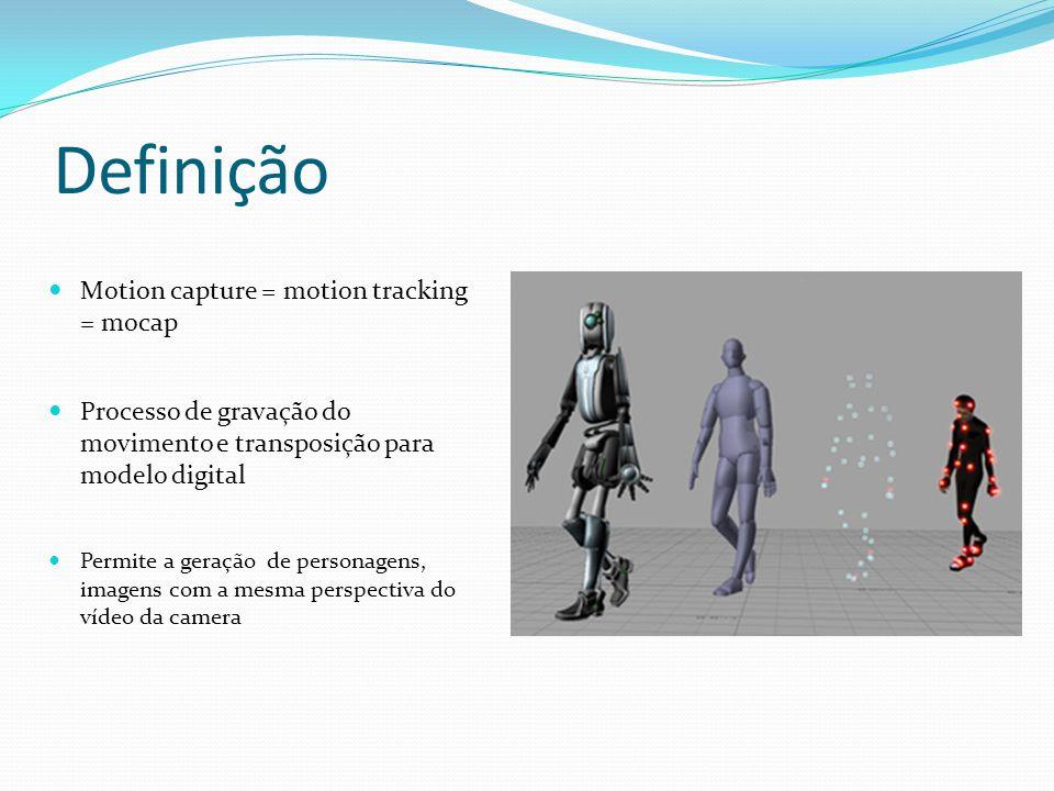 Definição Motion capture = motion tracking = mocap Processo de gravação do movimento e transposição para modelo digital Permite a geração de personage