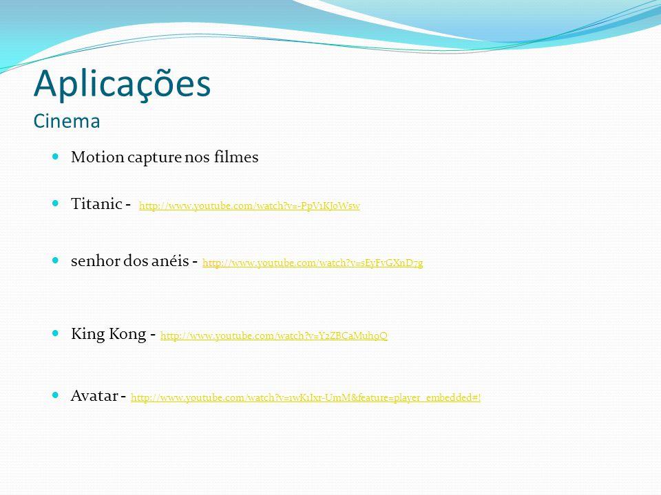 Aplicações Cinema senhor dos anéis - http://www.youtube.com/watch?v=sEyFvGXnD7gwww.youtube.com/watch?v=sEyFvGXnD7g Titanic - http://www.youtube.com/wa