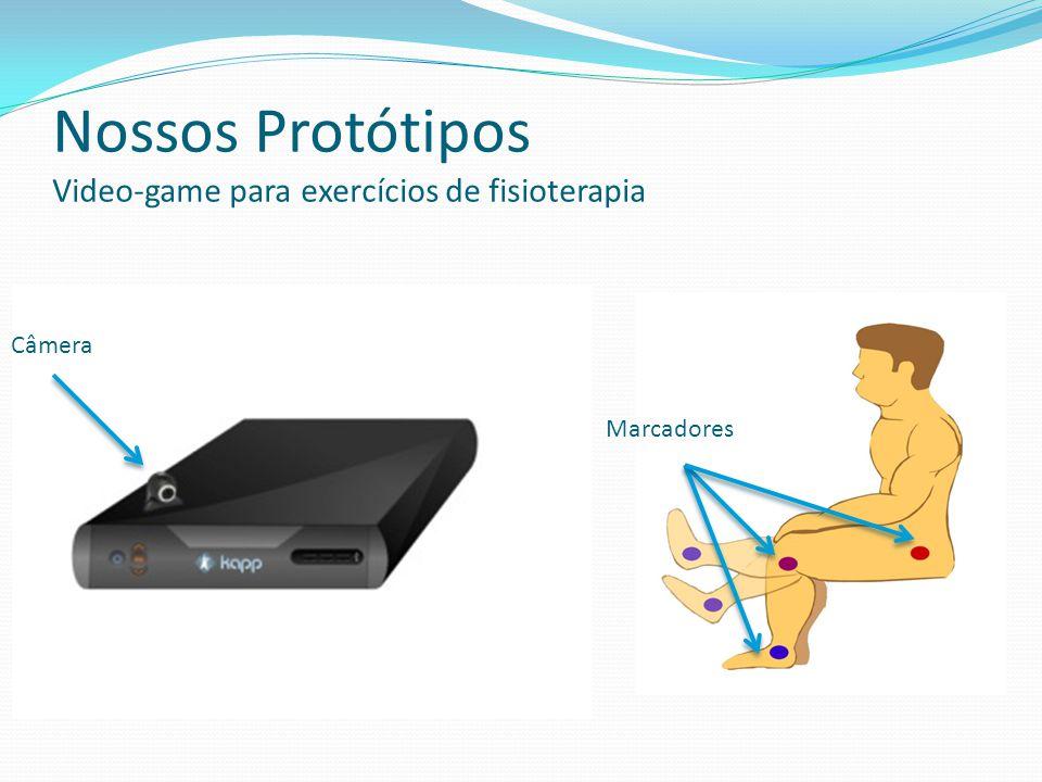 Nossos Protótipos Video-game para exercícios de fisioterapia Câmera Marcadores