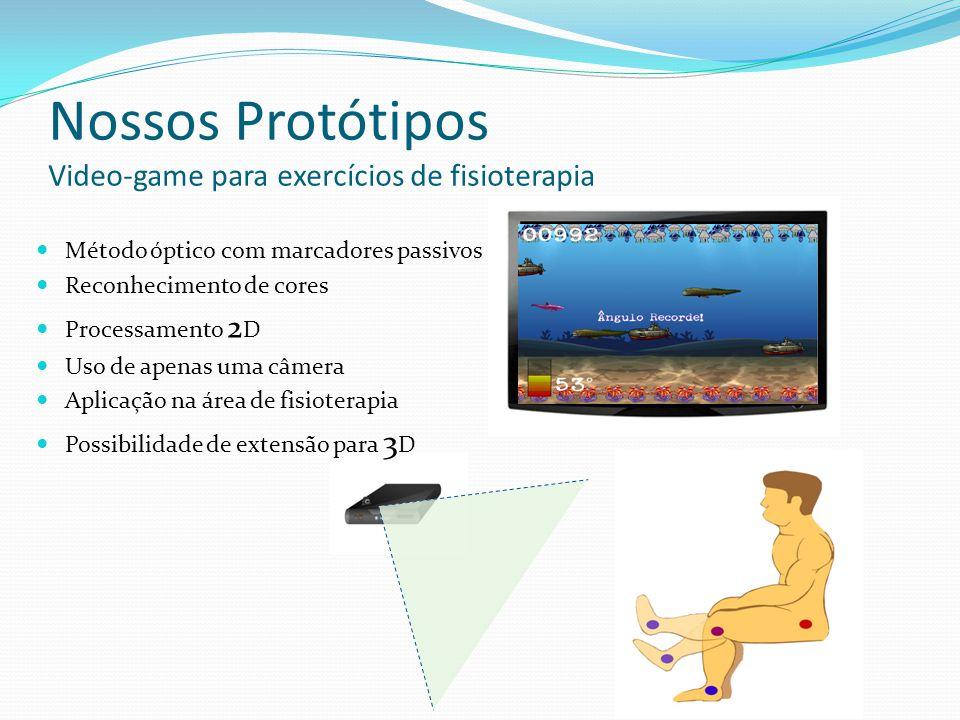 Nossos Protótipos Video-game para exercícios de fisioterapia Método óptico com marcadores passivos Reconhecimento de cores Processamento 2 D Uso de ap