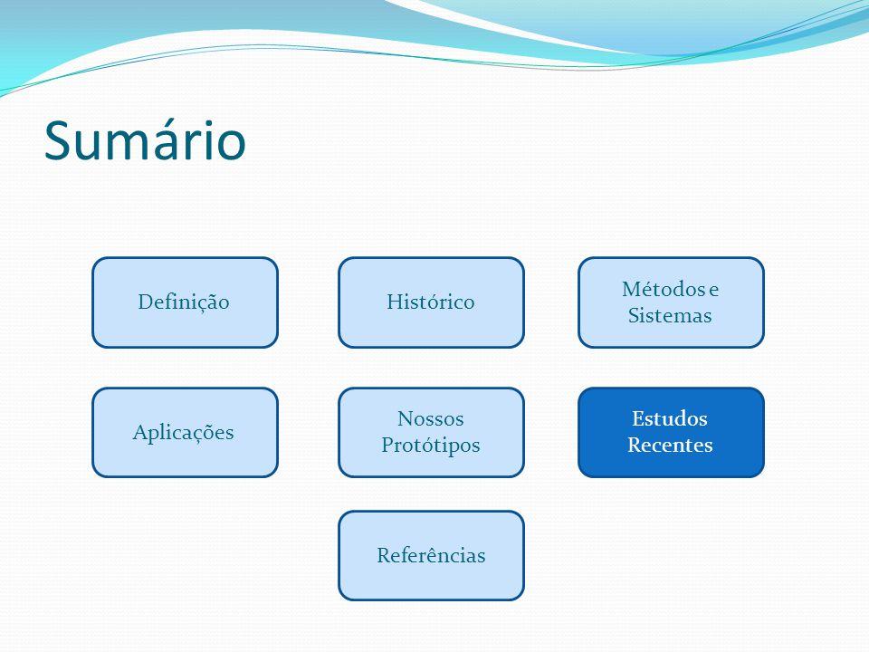 Sumário Definição Métodos e Sistemas Histórico Aplicações Estudos Recentes Referências Nossos Protótipos