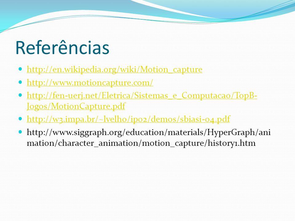 Referências http://en.wikipedia.org/wiki/Motion_capture http://www.motioncapture.com/ http://fen-uerj.net/Eletrica/Sistemas_e_Computacao/TopB- Jogos/M