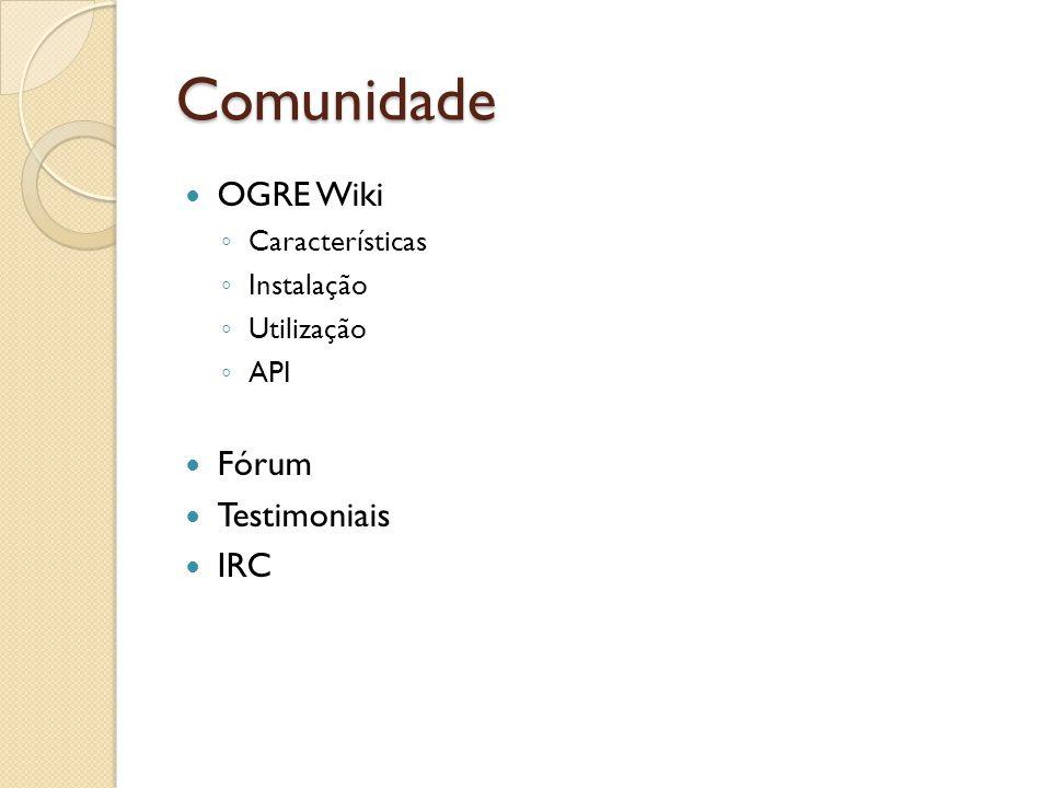Comunidade OGRE Wiki Características Instalação Utilização API Fórum Testimoniais IRC