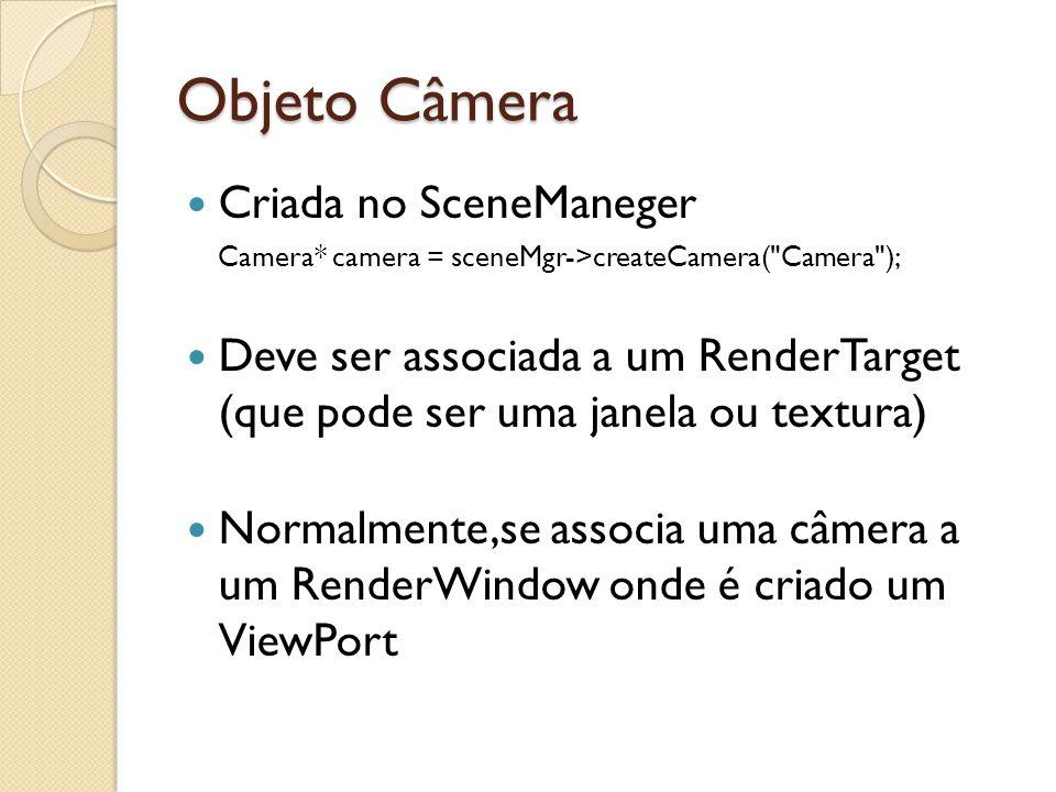 Overlays Estruturas para renderização de elementos na frente da cena Pode ser criado através de um script ou do OverlayManager OverlayManager::createOverlayElement() Overlay::show()