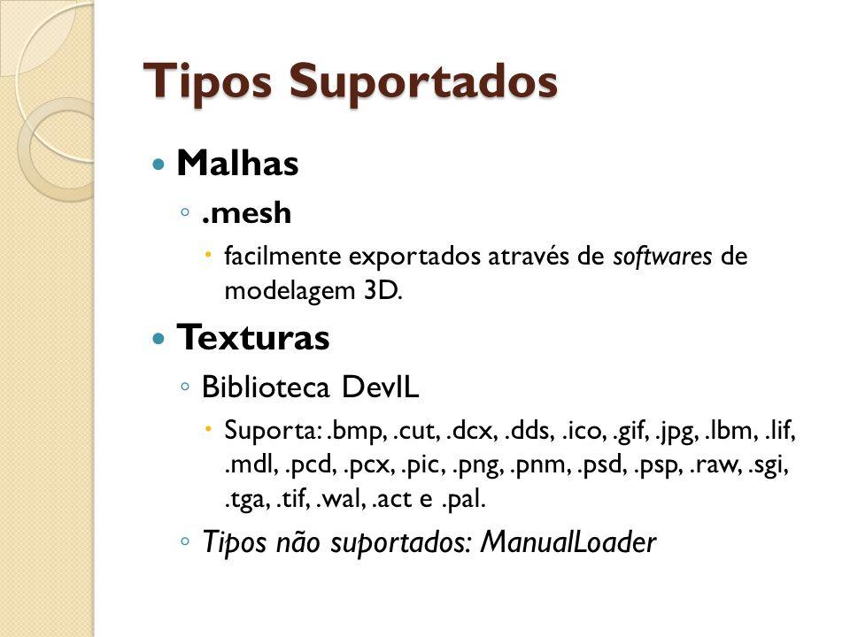 Tipos Suportados Malhas.mesh facilmente exportados através de softwares de modelagem 3D.