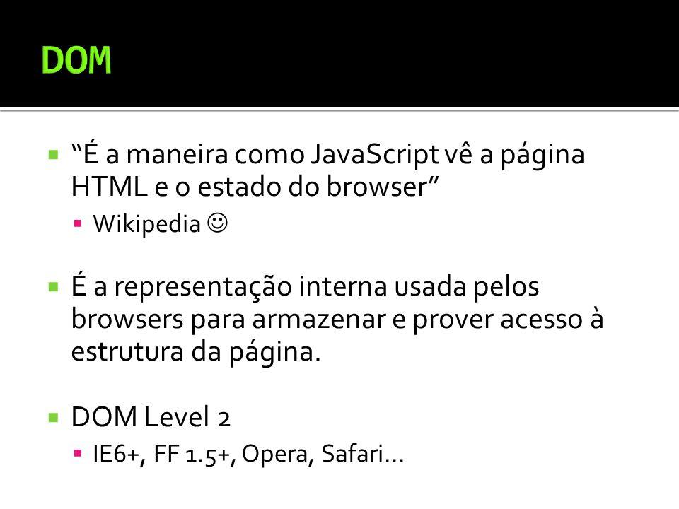 É a maneira como JavaScript vê a página HTML e o estado do browser Wikipedia É a representação interna usada pelos browsers para armazenar e prover acesso à estrutura da página.