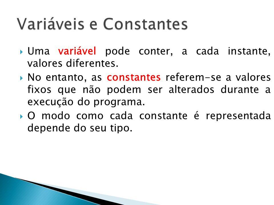 Uma variável pode conter, a cada instante, valores diferentes.