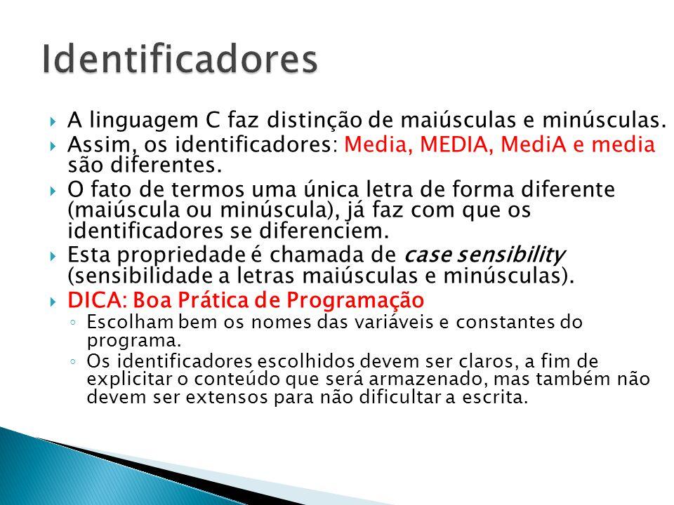 A linguagem C faz distinção de maiúsculas e minúsculas.