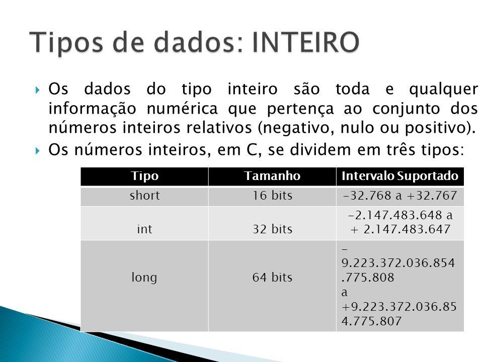 Os dados do tipo inteiro são toda e qualquer informação numérica que pertença ao conjunto dos números inteiros relativos (negativo, nulo ou positivo).