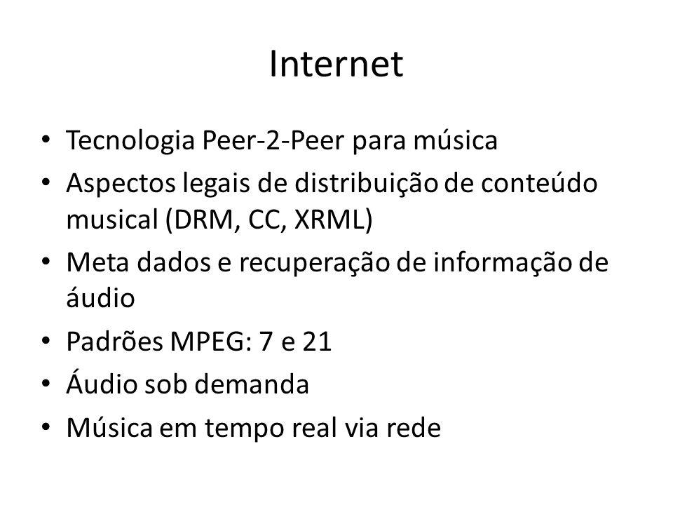 Internet Tecnologia Peer-2-Peer para música Aspectos legais de distribuição de conteúdo musical (DRM, CC, XRML) Meta dados e recuperação de informação