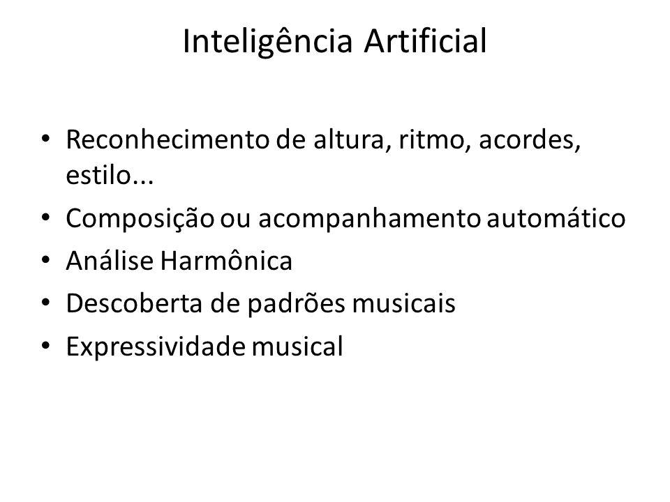 Inteligência Artificial Reconhecimento de altura, ritmo, acordes, estilo... Composição ou acompanhamento automático Análise Harmônica Descoberta de pa