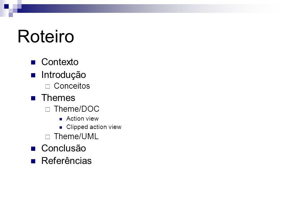 Roteiro Contexto Introdução Conceitos Themes Theme/DOC Action view Clipped action view Theme/UML Conclusão Referências