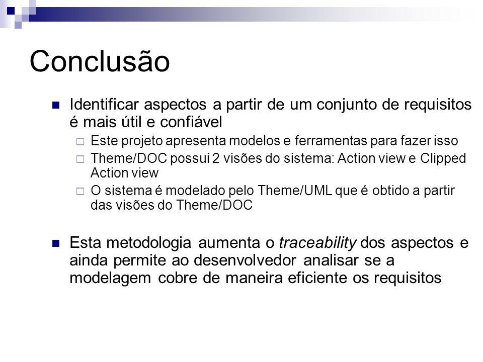 Conclusão Identificar aspectos a partir de um conjunto de requisitos é mais útil e confiável Este projeto apresenta modelos e ferramentas para fazer i