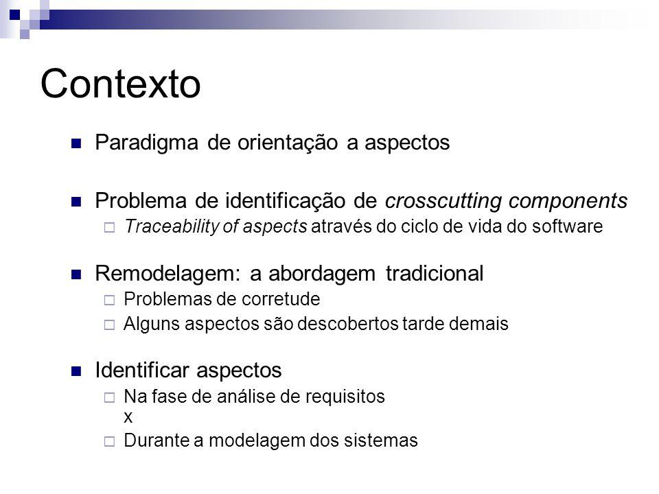 Contexto Paradigma de orientação a aspectos Problema de identificação de crosscutting components Traceability of aspects através do ciclo de vida do s