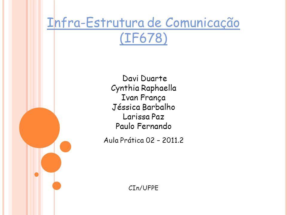 Infra-Estrutura de Comunicação (IF678) Aula Prática 02 – 2011.2 CIn/UFPE Davi Duarte Cynthia Raphaella Ivan França Jéssica Barbalho Larissa Paz Paulo Fernando