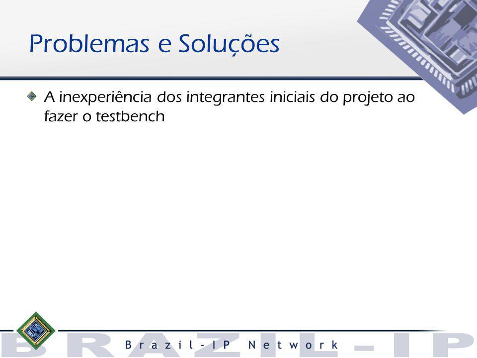 Problemas e Soluções A inexperiência dos integrantes iniciais do projeto ao fazer o testbench