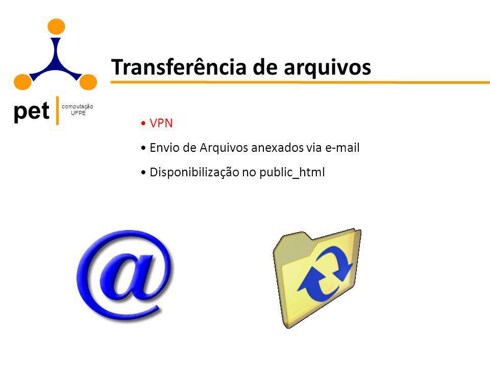 pet computação UFPE Transferência de arquivos VPN Envio de Arquivos anexados via e-mail Disponibilização no public_html