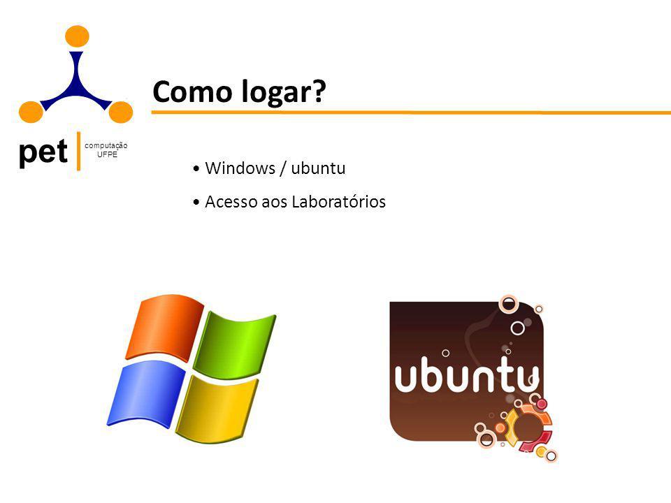 pet computação UFPE Como logar? Windows / ubuntu Acesso aos Laboratórios