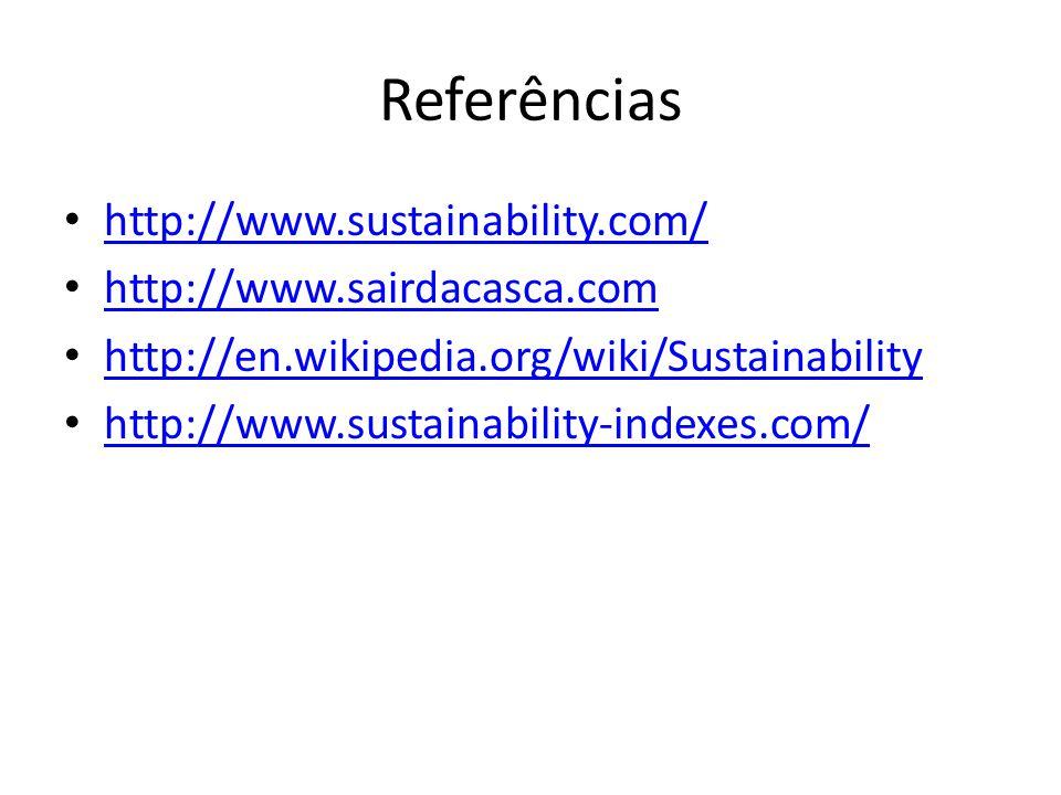 Referências http://www.sustainability.com/ http://www.sairdacasca.com http://en.wikipedia.org/wiki/Sustainability http://www.sustainability-indexes.co