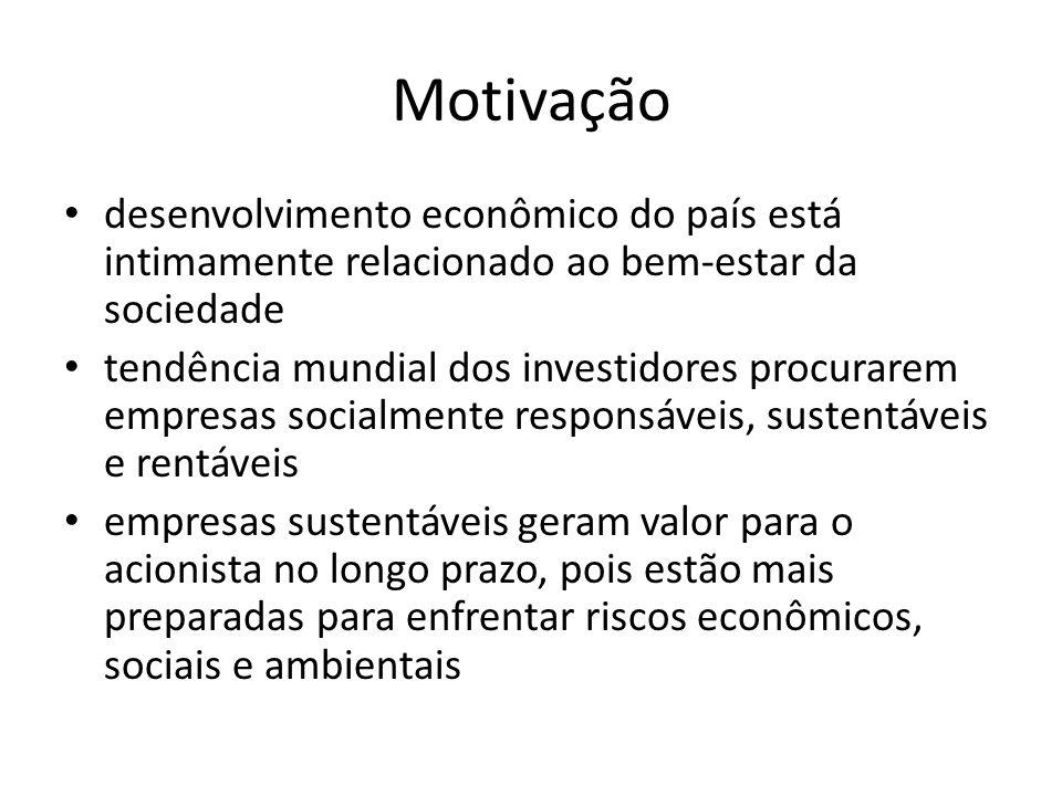 Motivação desenvolvimento econômico do país está intimamente relacionado ao bem-estar da sociedade tendência mundial dos investidores procurarem empre