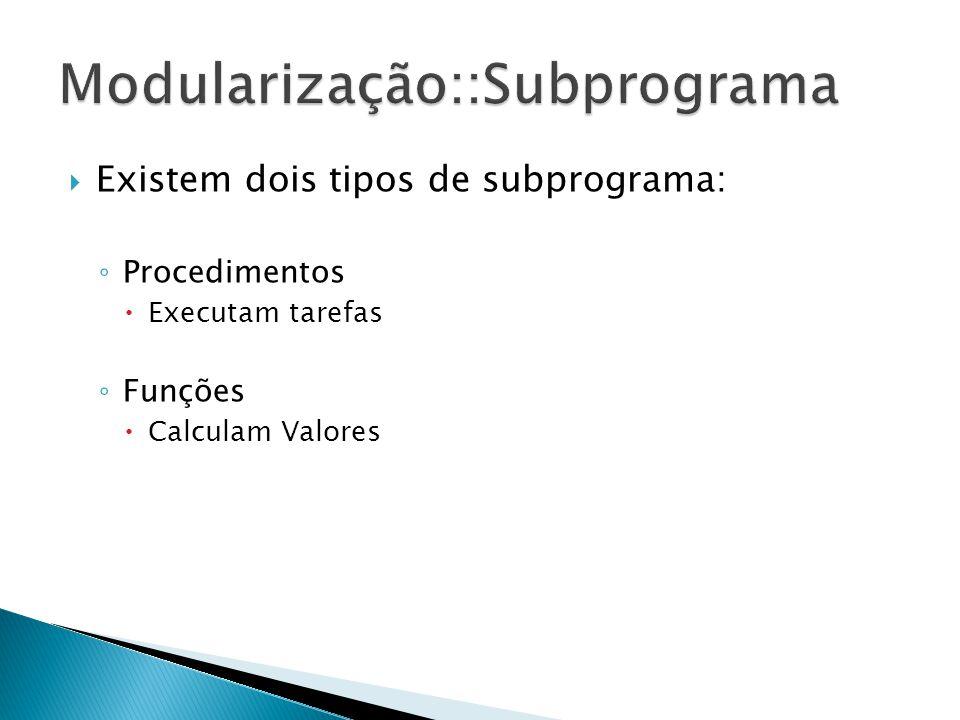 Existem dois tipos de subprograma: Procedimentos Executam tarefas Funções Calculam Valores