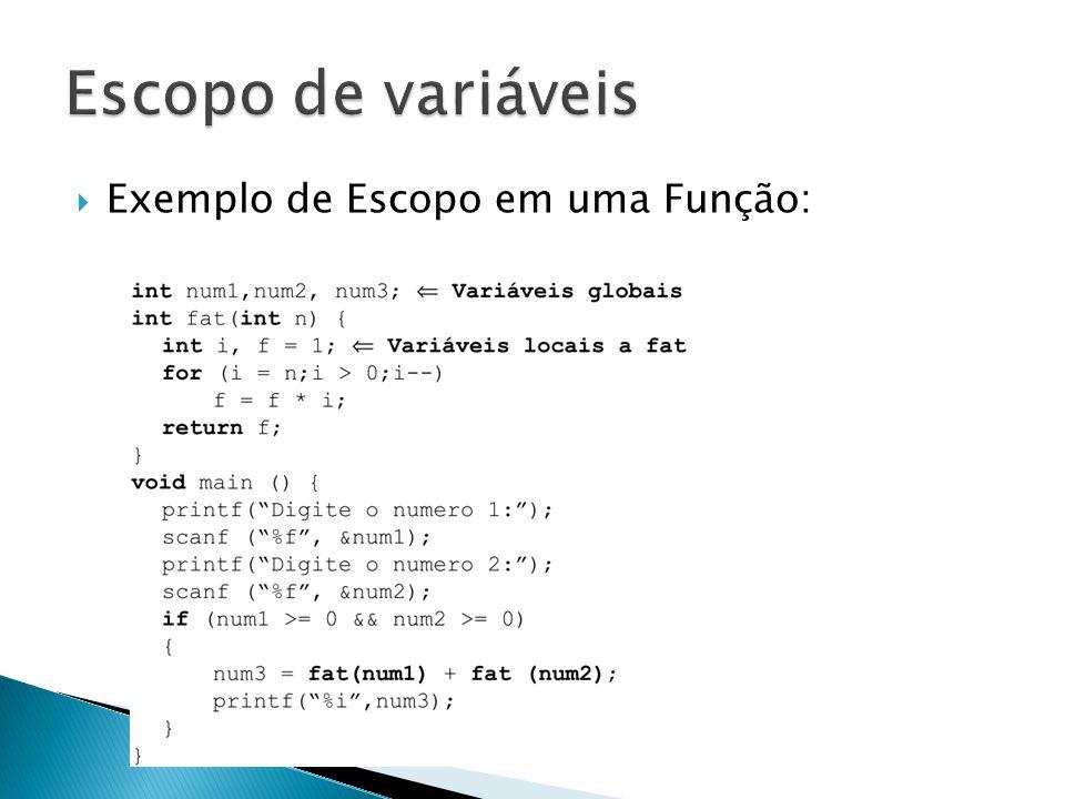 Exemplo de Escopo em uma Função: