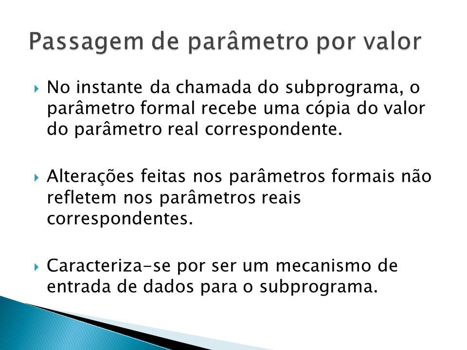 No instante da chamada do subprograma, o parâmetro formal recebe uma cópia do valor do parâmetro real correspondente. Alterações feitas nos parâmetros